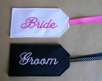 Bride and Groom Embroidered Luggage Tags, Luggage Tags, Bridal Luggage Tags
