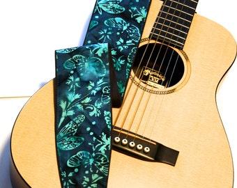 Vegan Guitar Strap-Midnight Moth-LIMITED Batik Pattern