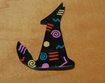 Howling Wolf Dog Pin Brooch Southwestern Black with Colorful Accents
