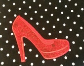 Red High Heel Shoe Embroiderd Baby Bib