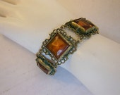 30s bracelet / Vintage 1930's Art Deco Amber Glass Bracelet