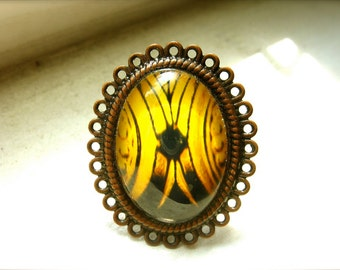 Yellow And Black Abstract - Fine Art Photography Ring - Through The Golden Window
