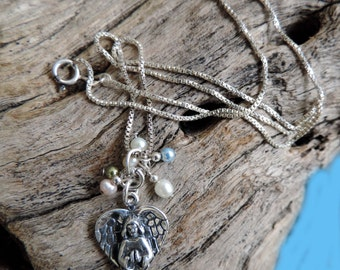 """SSilver Angel Charm Pendant with 18"""" SS chain & Fresh Water Pearls"""