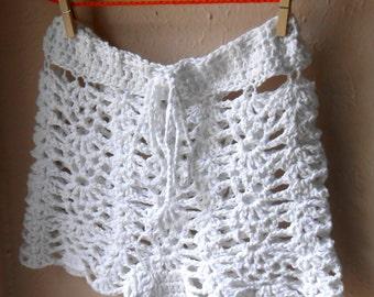 White Crochet Shorts Swimsuit Cover-Up