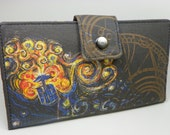 Handmade dr who Long Wallet  BiFold Clutch -Vegan Wallet - Doctor Who's Van Gogh Exploding Tardis