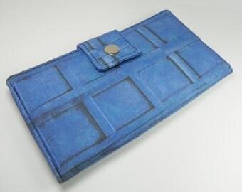 Handmade dr who Long fandom geek Wallet  BiFold Clutch - Vegan Wallet - River Song's Tardis Journal dr who