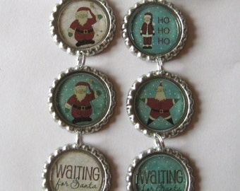 Waiting for Santa with bottom cap in Off White OR Blue Flattened Bottle Cap Ornament