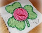 Monogram Shamrock Circle Embroidery Applique Design