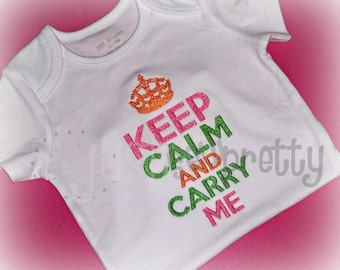 Keep Calm Carry Me Machine Embroidery Design