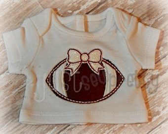 "18"" Doll Sized Football Bow  Applique Design"