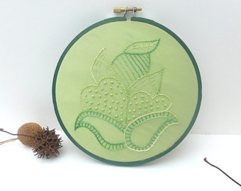 SALE Green flower hoop art, hand embroidery fiber art, marked down 50%, eco-friendly home decor crewel hand stitched wall decor
