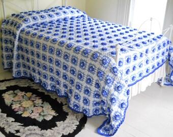 Vintage Afghan Bedspread • King Size Blanket • Dimensional Blue Flowers