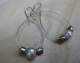 Pale Pink Pearl Sterling Silver Hoop  Earrings Romantic Bridal