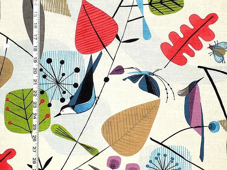 Scandinavian bird fabric retro butterfly bee funky home