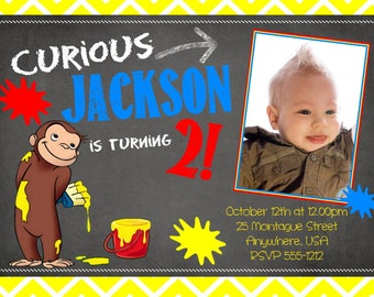 Curious George Birthday - Curious George Invitation - Birthday Invitations