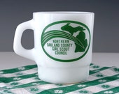 Girl Scout Mug, Milk Glass Mug, White Coffee Cup, Michigan Girl Scouts, Collector Mug, Green and White Cup, Vintage 1960s