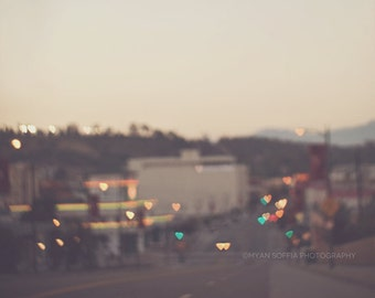 night photography, bokeh hearts, dreamy photo, abstract gold red, dusk, LA love, Los Angeles at dusk, landscape photograph Valentines Day