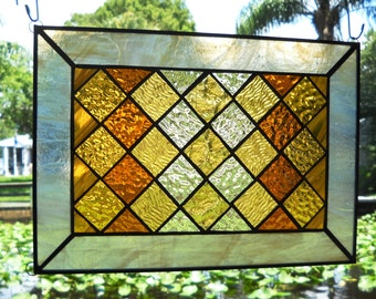 Geometric Stained Glass Panel Quilt Block Suncatcher in Sunset Gold Multicolors, Abstract Stained Glass Window Panel, Stained Glass Transom