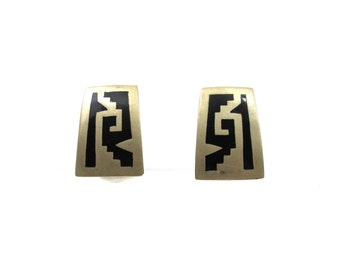 1950s Sterling & Onyx Taxco Mexico Earrings Mid Century Fashion