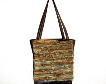 Antique Gold and Brown Wool and Leather Tote Bag