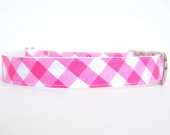 Gingham Dog Collar in Pink
