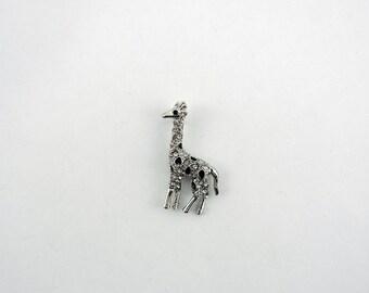 Silver-tone Giraffe Pendant Rhinestones