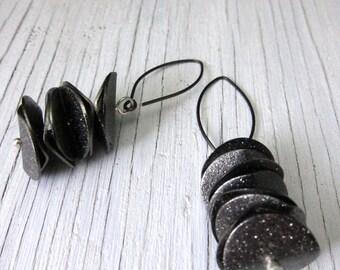 Black Shimmery Metal Earrings