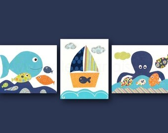 Nautical nursery art Octopus Bathroom art Boat fish sea Baby room decor Blue green orange navy bathroom decor Set of 3 Prints