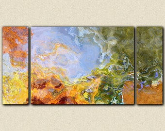 "Large abstract art, 30x60 to 40x78 triptych giclee canvas print, in orange, blue and green, from abstract painting ""Sing To Me The Dream"""