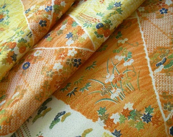 Vintage silk Japanese kimono fabric (orange)very good condition