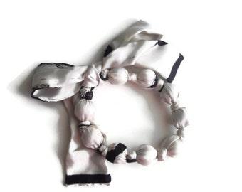 Black and White Scarf Necklace Handmade Hypoallergenic Fashion Statement Silk