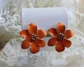 Vintage Orange Enamel Flower Clip Earrings