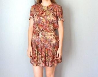 Vintage EDMONTON Dress • 1980s Clothing • Gold Mauve Pink Swirl Patterned Short Sleeve 90s Shirtdress Shirt Knee Length • Women Medium Small