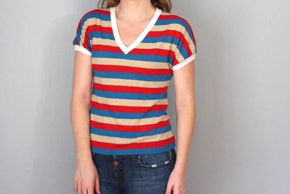 Vintage CATALINA Top / 1970s Shirt / Short Sleeve Soft T Shirt / V Neck Ringer / Multicolor Stripe / Red White Blue