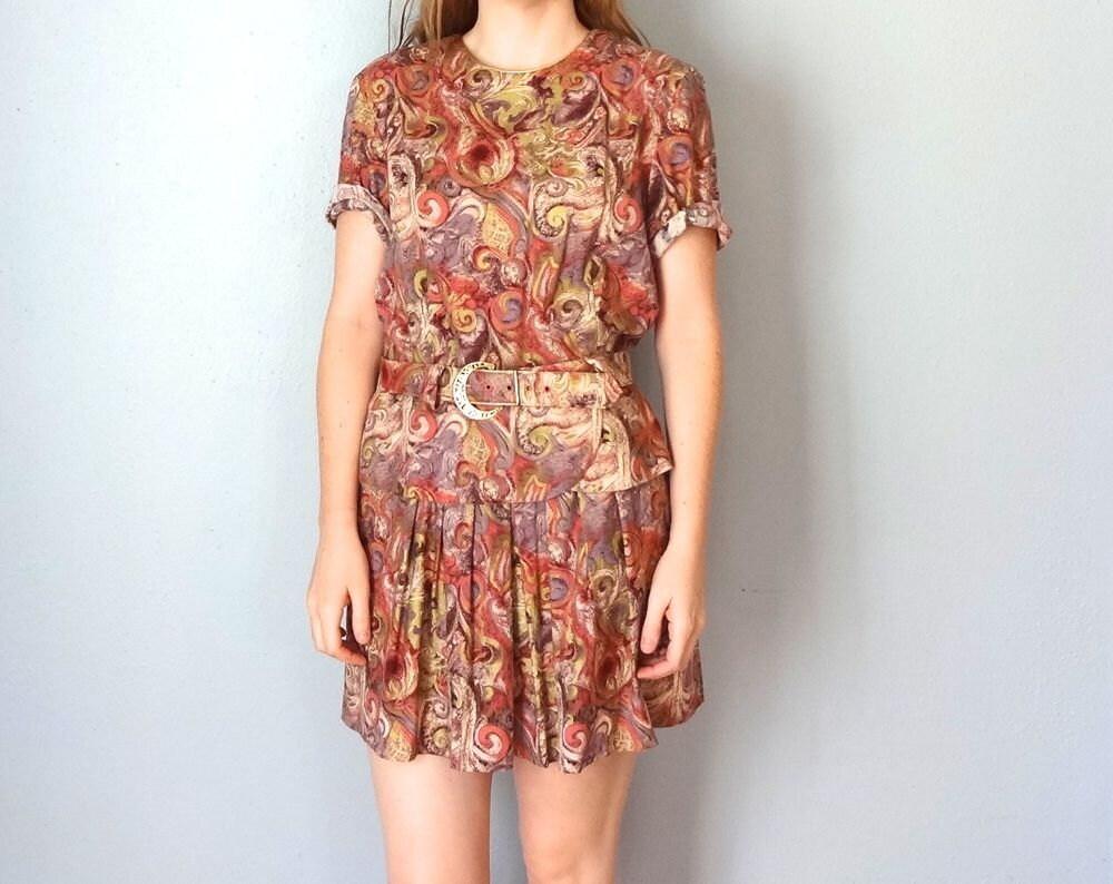 vintage edmonton dress 1980s clothing gold mauve pink