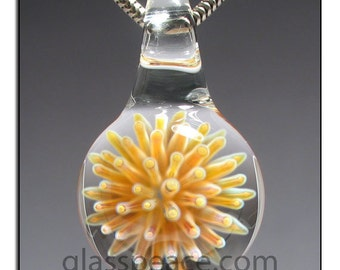 Glass Pendant jewelry focal lampwork sea anemone - Glass Peace glass jewelry (5626)