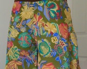 ON SALE Summer silk culottes, floral print shorts, green short culottes, resort beach miniskirt, travel shorts, womens clothing, women skort - Zoia