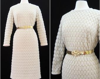 Vintage 70s Dress Bubble Popcorn Knit Polyester Gold Party Dress  L XL