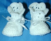 White Crocheted Baby Booties  Fits Newborn To 3 Months