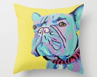 "16x16"" Throw Pillow Cushion Cover featuring a French Bulldog Portrait"