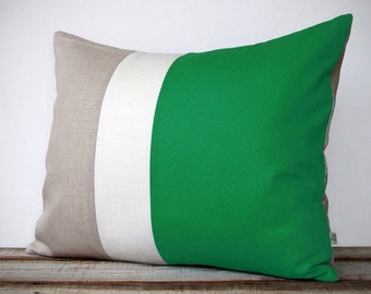 16x20 Color Block Pillow in Emerald, Cream and Natural Linen by JillianReneDecor - Minimal Home Decor - Striped Trio - Kelly Green - Custom