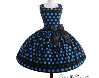 Polkadot Blue Rockabilly Dots Prom Mad Men Inspired Bow Dress Custom in your size