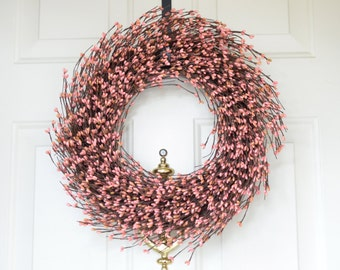 Carnation Pink Spring wreath - Pink Pip berries - front door decoration - year round decor