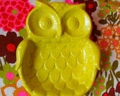 Chartreuse owl soap dish spoon rest jewelry tray