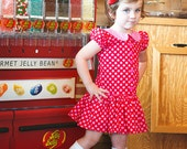 Red and Pink Polka Dot Dress with Peter Pan Collar Available Sizes 2T -7