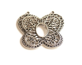 1pc- Matte Silver Plated Butterfly Pendant-65x60mm- (404-002SP)