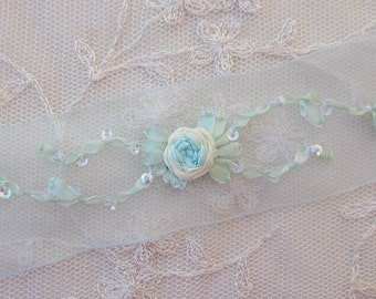 Hand Embroidered BLUE IVORY Organza Sequin Flower Ribbon Trim Antique Vintage Baby Doll Christening Gown