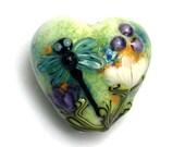 Blue Dragonfly w/Purple Flora Heart -11816605-Handmade Glass Lampwork Bead