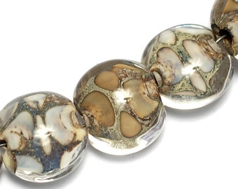 Seven Ivory within Crystal Clear Lentil Beads 10303402 - Handmade Glass Lampwork Bead Set