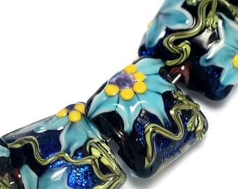 Glass Lampwork Beads Set 10411204 - Seven Pillow Beads - Azure's Elegance